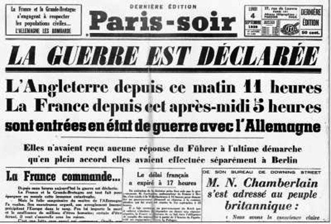 France declares war on Germany